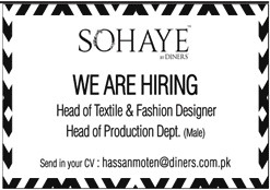 Sohye Jobs Opportunity Head Of Textile And Fashion Design And Head Of Production Department Jobs
