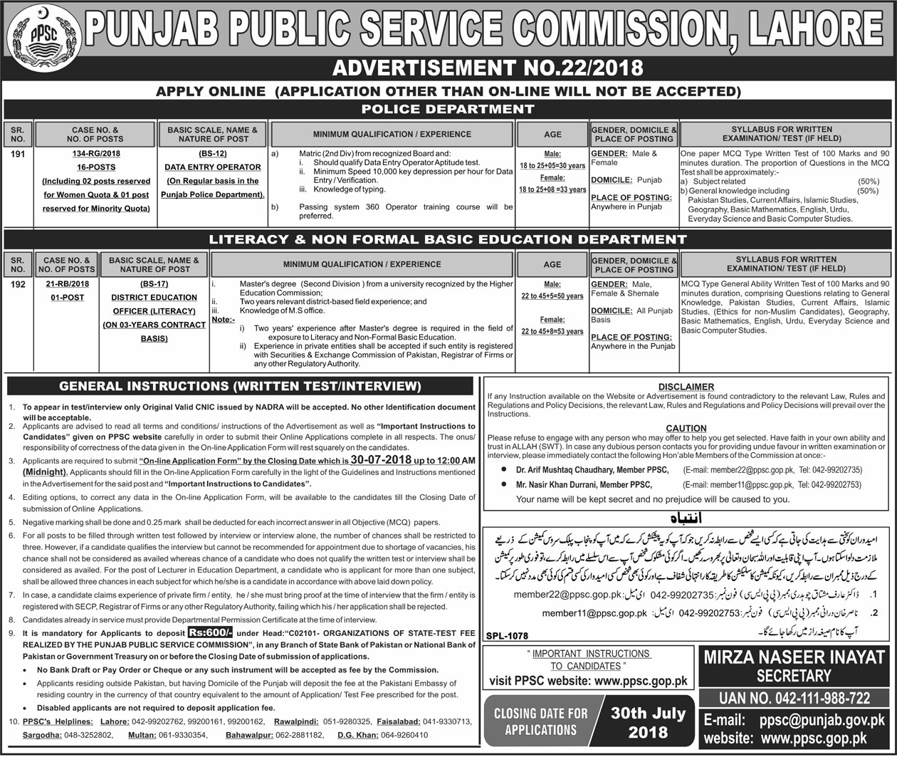 Jobs Ppsc Jobs Of District Education Officer And Data Entry