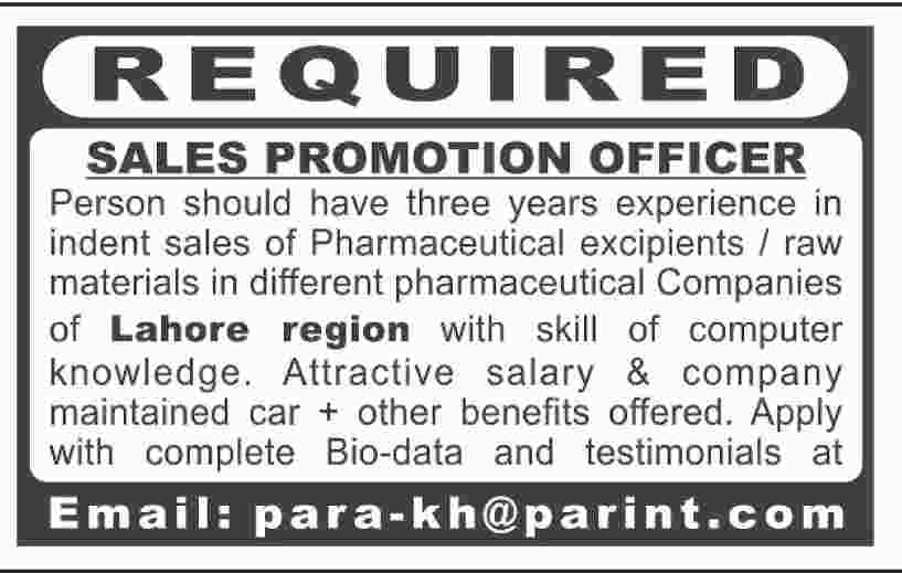 SALES PROMOTION OFFICER JOBS OPPORTUNITY - Jobs