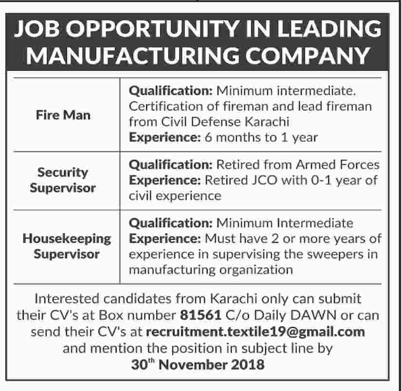 JOB OPPORTUNITY IN LEADING MANUFACTURING COMPANY - Jobs