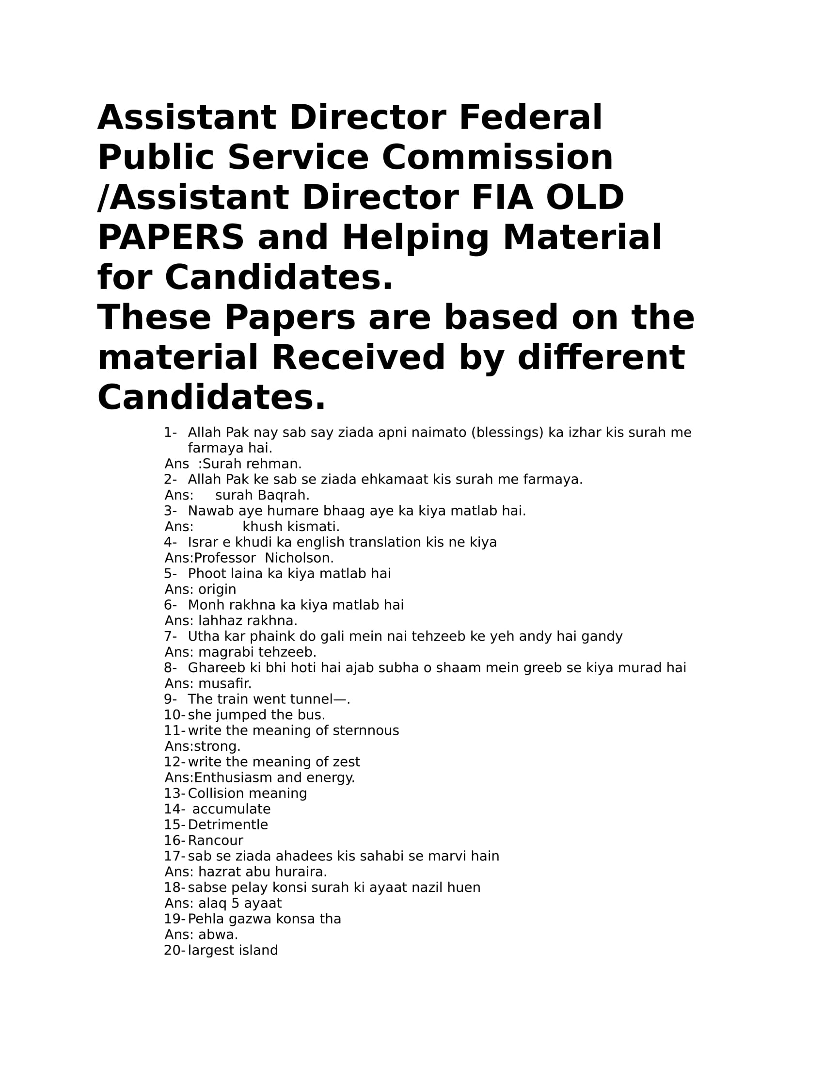 FIA Old Papers for Assistant Director / Inspector Federal