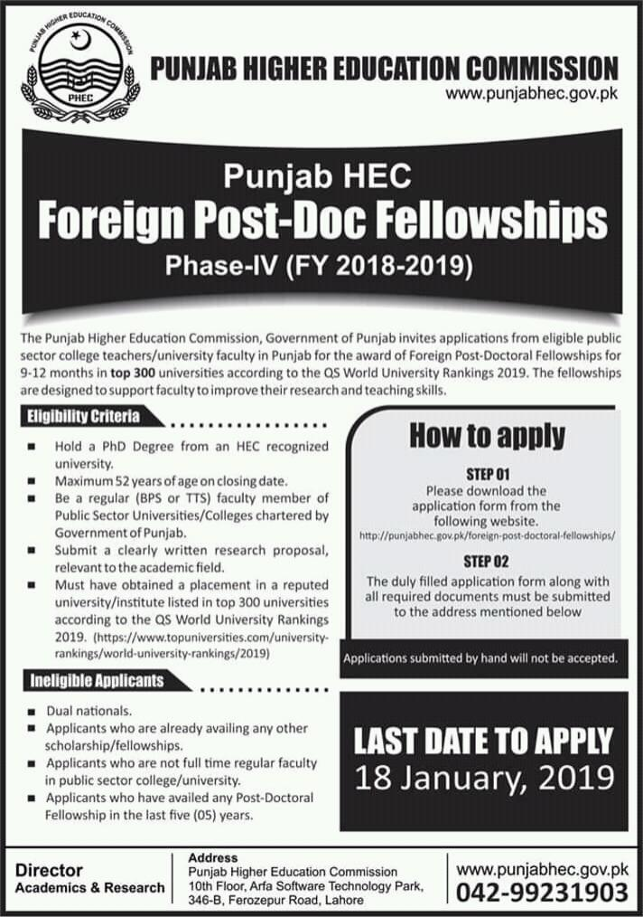 Punjab HEC Foreign Post-Doc Fellowships Phase-IV (FY 2018-2019) - Jobs