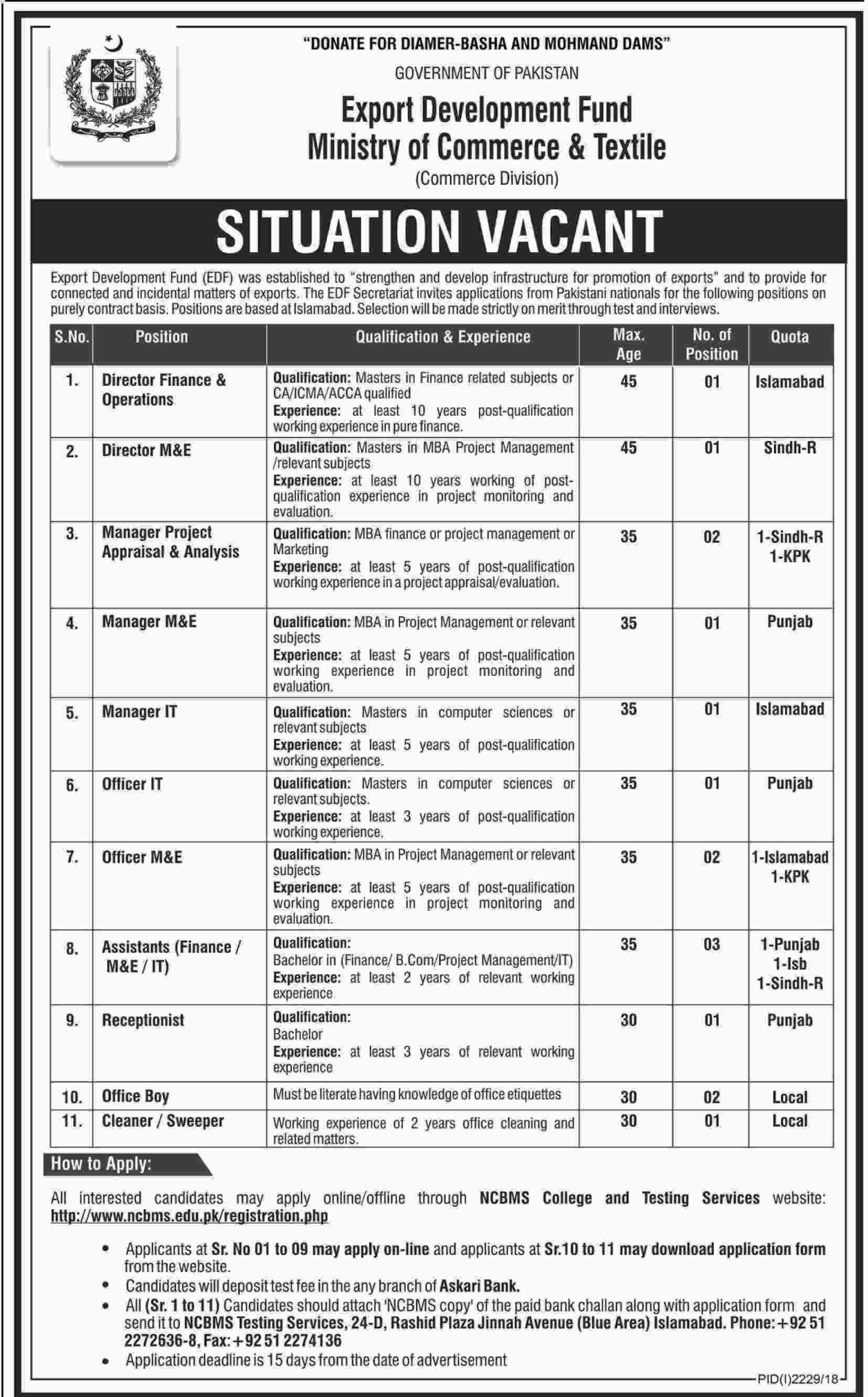 GOVERNMENT OF PAKISTAN , Export Development Fund - Jobs
