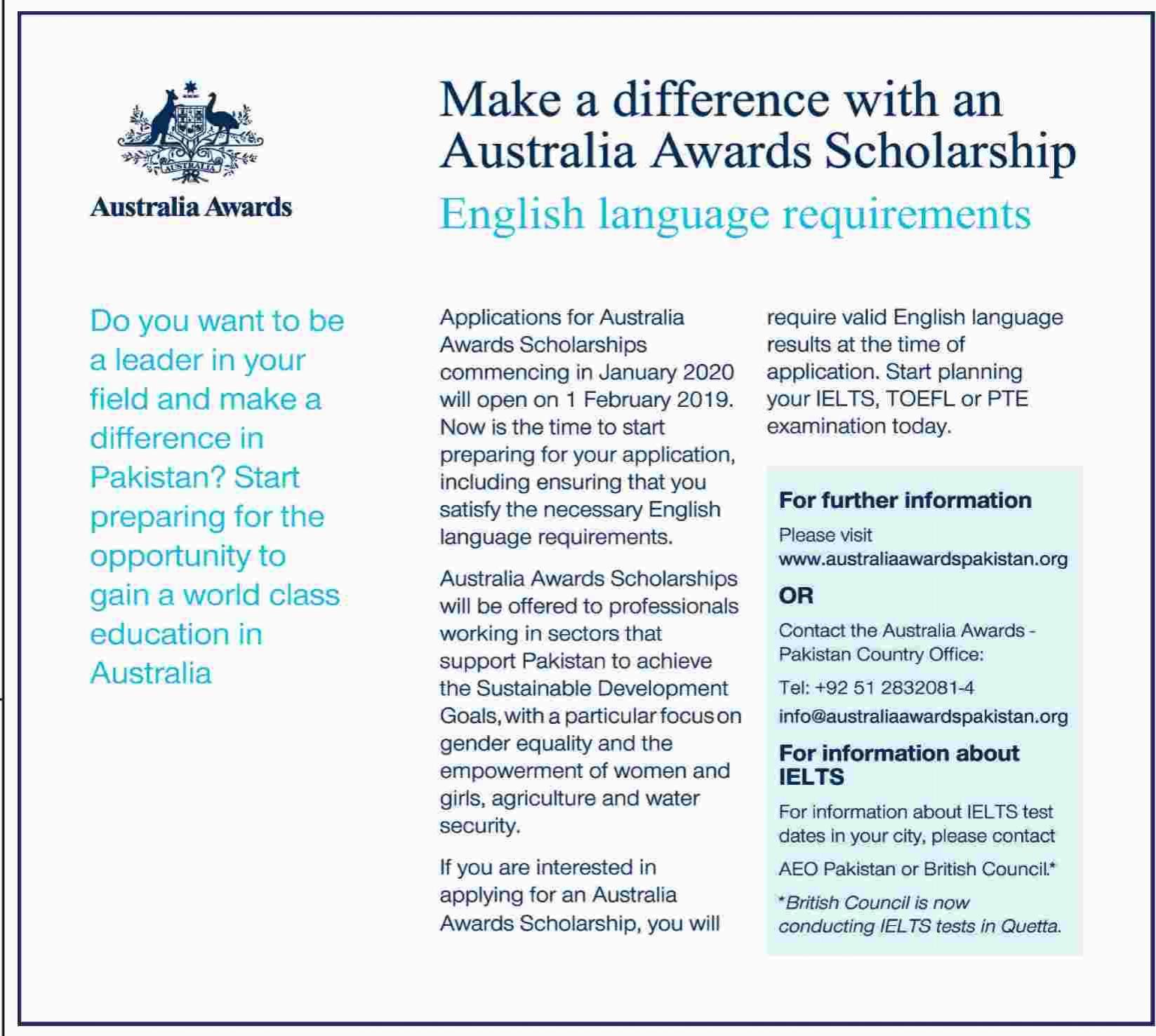 Australia Awards Scholarship for Pakistani Students - Jobs