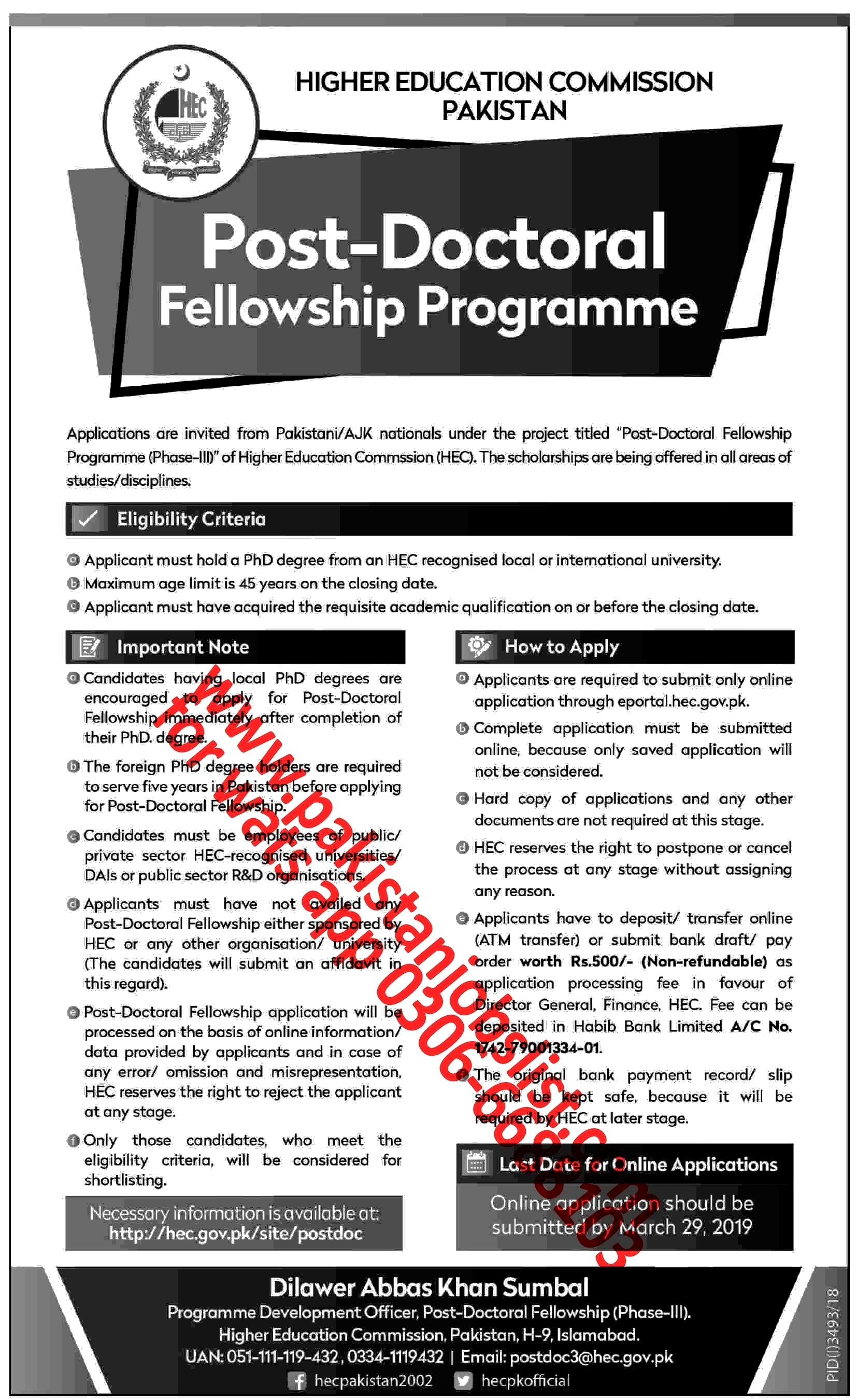Post-Doctoral Fellowship Programme (Phase-III)