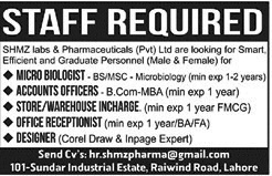 SHMZ Labs & Pharmaceuticals (PVT) Ltd Jobs opportunity - Jobs