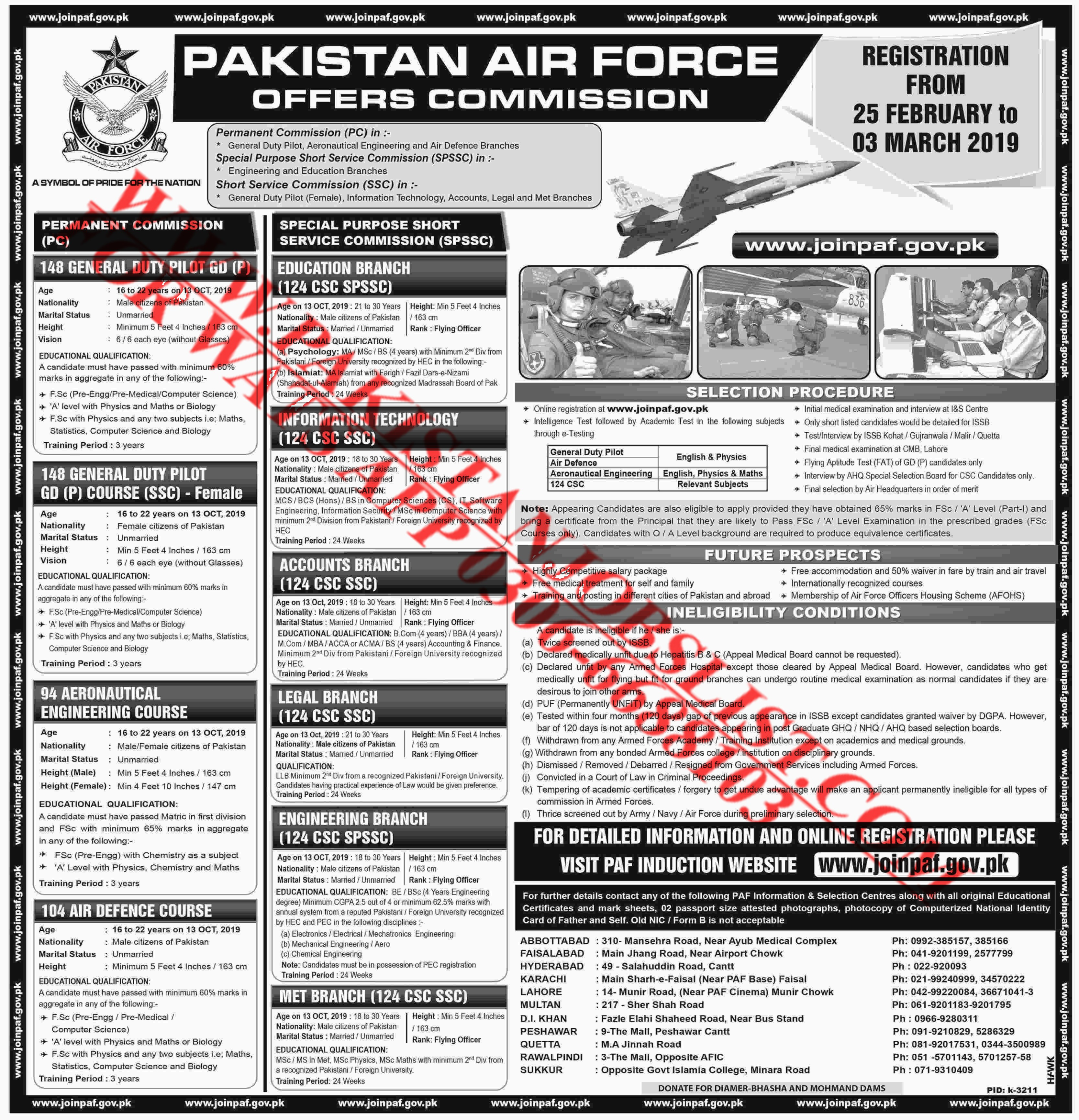 Join Pakistan Air Force as Permanent Commissioned Officer