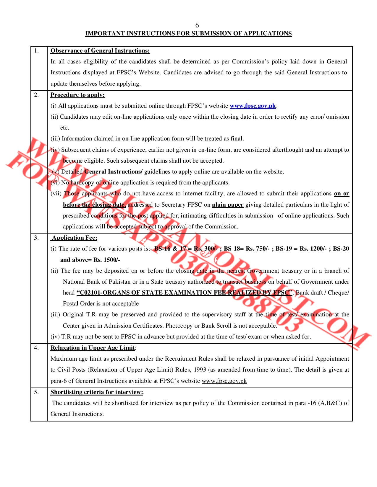 Federal Public Service Commission Consolidated Advertisement