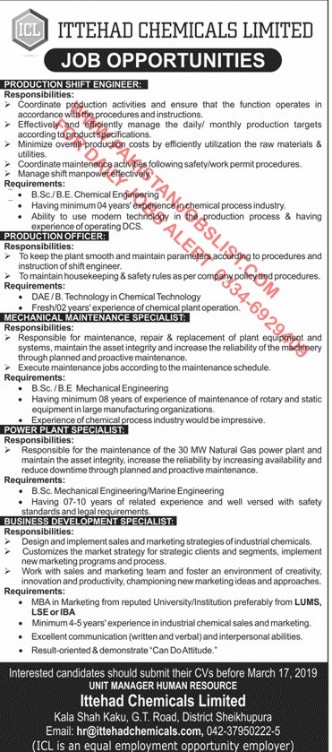 ITTEHAD CHEMICALS LIMITED JOB OPPORTUNITIES (PRODUCTION
