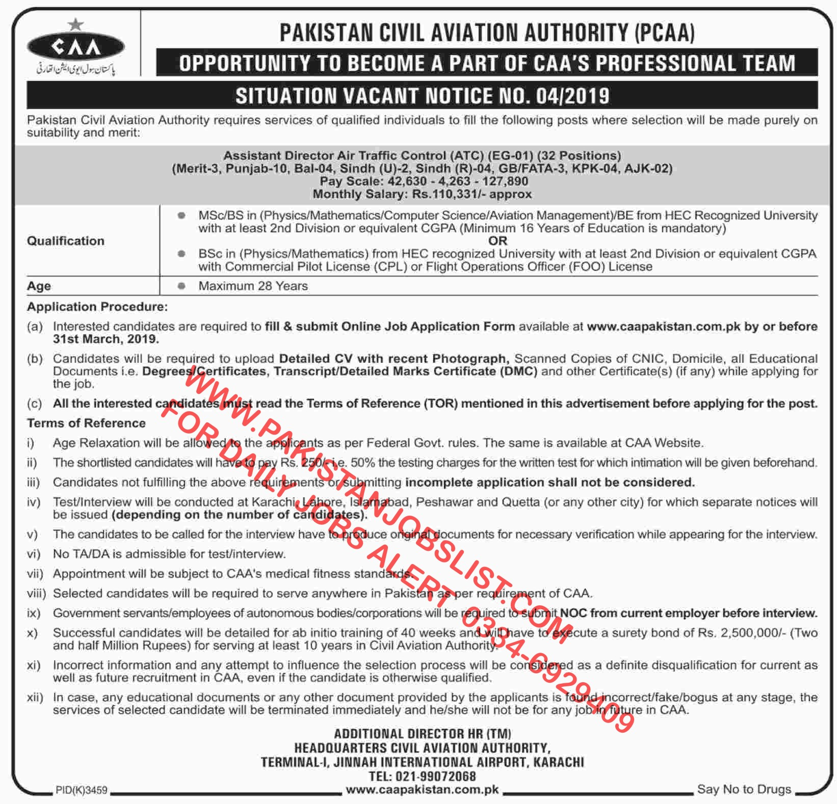PAKISTAN CIVIL AVIATION AUTHORITY (PCAA) Assistant Director