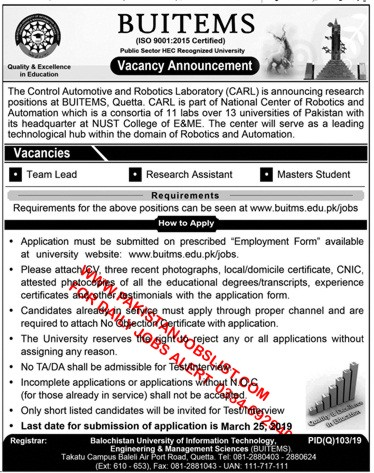 BUITEMS Jobs Opportunity (Team Lead , Research Assistant and Master
