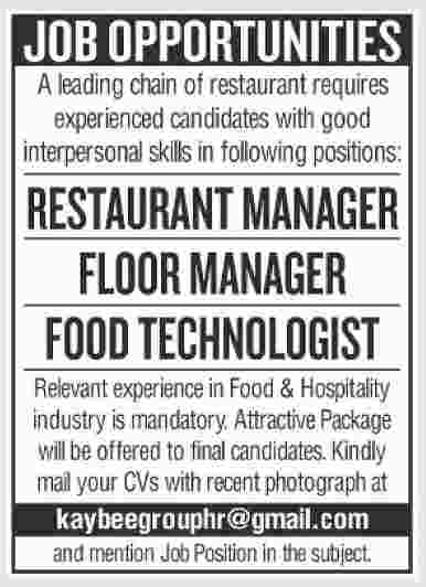 Restaurant Staff Required Restaurant Manager Floor