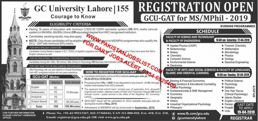 GC University Lahore MS/Mphill Admissions GAT Test - Jobs