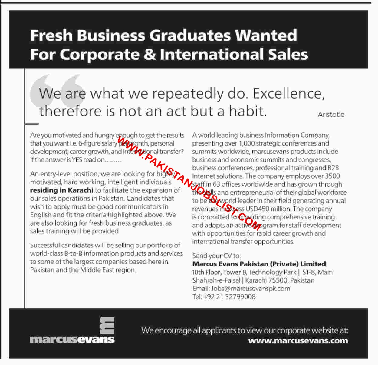 Fresh Business Graduates Wanted For Corporate & International Sales