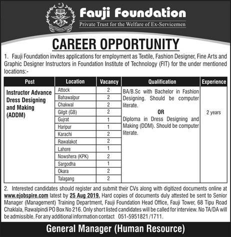 Fauji Foundation Jobs Opportunity Dress Fashion Designer Required In Different Cities Jobs